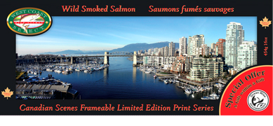 Scenes of Canada Gift Picture with Wild Smoked Salmon - Vancouver Skyline 454g / 16 oz.